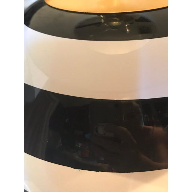 Modern Kate Spade Black & White Striped Pedestal Globe Table Lamp - A Pair For Sale - Image 3 of 5