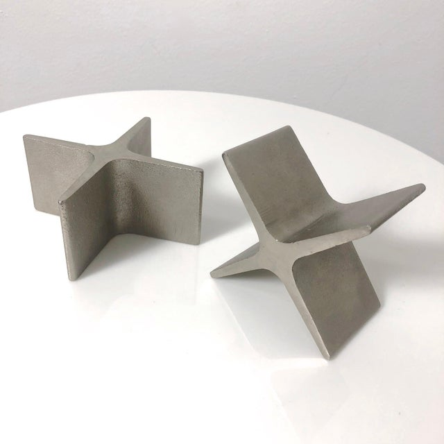 Metal 1970s Vintage Carl Aubock X Bookends- A Pair For Sale - Image 7 of 9