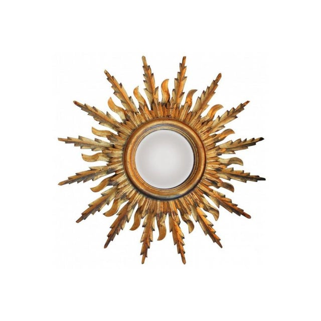 Midcentury French Double Layer Sunburst Mirror With Original Mirror Glass For Sale - Image 10 of 10