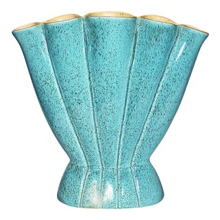 Turquoise Red Wing Mid-Century Vase For Sale