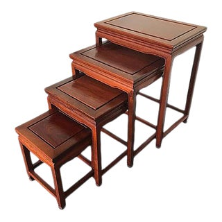 Chinese Rosewood Asian Nesting Tables - Set of 4 For Sale