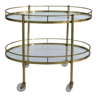 Mid-Century Modern Oval 2-Tier Rolling Bar Cart Trolley For Sale