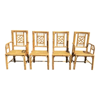 Vintage Organic Chippendale Style Bamboo & Cane Fretwork Dining Chairs - Set of 4 For Sale
