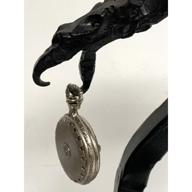 Antique English Wrought Iron Dragon Motif Pocket Watch Holder For Sale In West Palm - Image 6 of 12