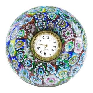 Murano Millefiori Mosaic Flowers Italian Art Glass Boho Chic Desk Clock For Sale