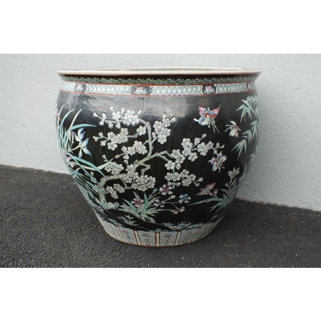 Qianlong Chinese Famille Noir Fish Bowl Planter - Image 2 of 11