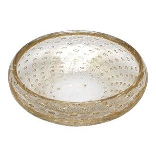 Original Gino Cenedese Bowl With Gold Flecks, C. 1950