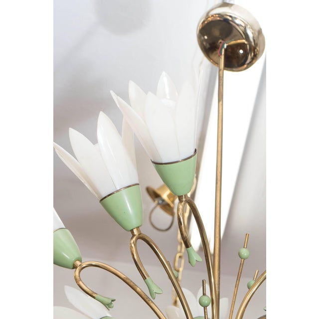 1960s Floral Eight-Light Chandelier For Sale In New York - Image 6 of 8