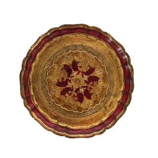 Italian Red and Gold Florentine Wood Tray For Sale