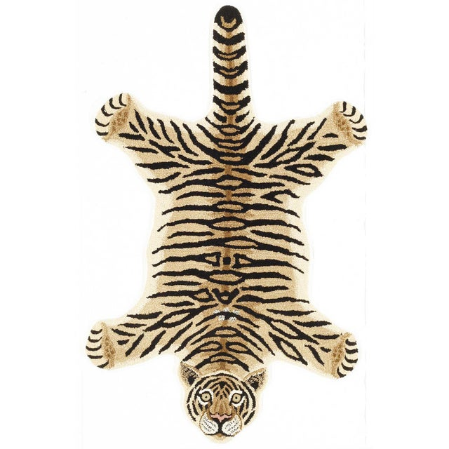 Modern Hand-Tufted Tiger Skin Shape Wool Rug - 2' x 3' For Sale In New York - Image 6 of 6
