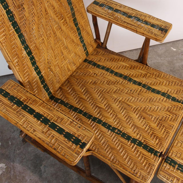 Vintage French Rattan Chaise Lounge & Footrest - Image 8 of 10