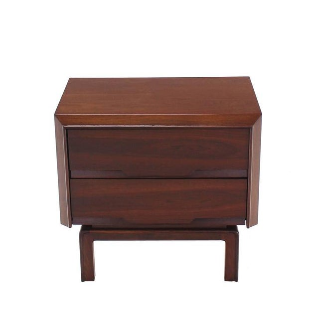 Brown Pair of Danish Mid Century Modern Walnut End Tables Two Drawer Stands For Sale - Image 8 of 8