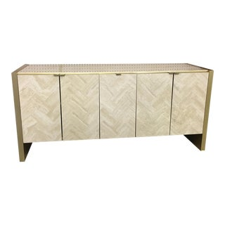 Ello Mid-Century Chevron Travertine Credenza For Sale