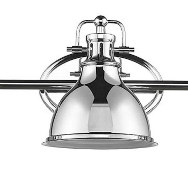 This 3-light vanity adds a touch of industrial edge Takes 100W bulb.