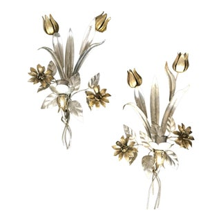 Silver and Gold Gilt Tole Candle Wall Sconces - a Set