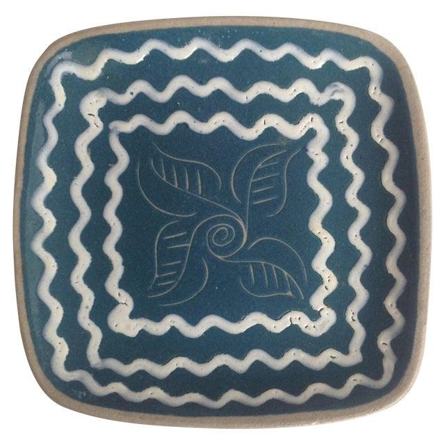Blue & White Enameled Glidden Pottery Tray - Image 1 of 5