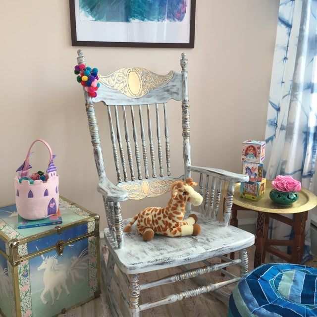 Vintage Hand Painted Rocking Chair For Sale In Philadelphia - Image 6 of 8