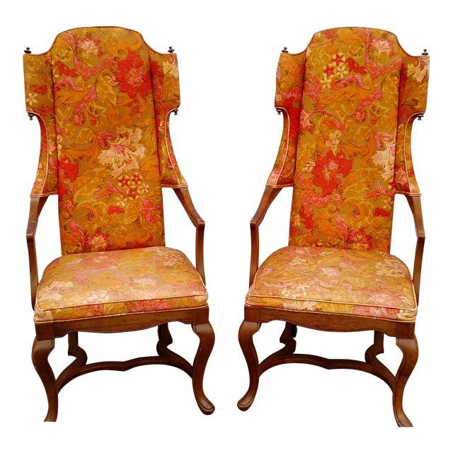 Jim Peed Esperanto Drexel Wingback Chairs - A Pair - Image 1 of 11