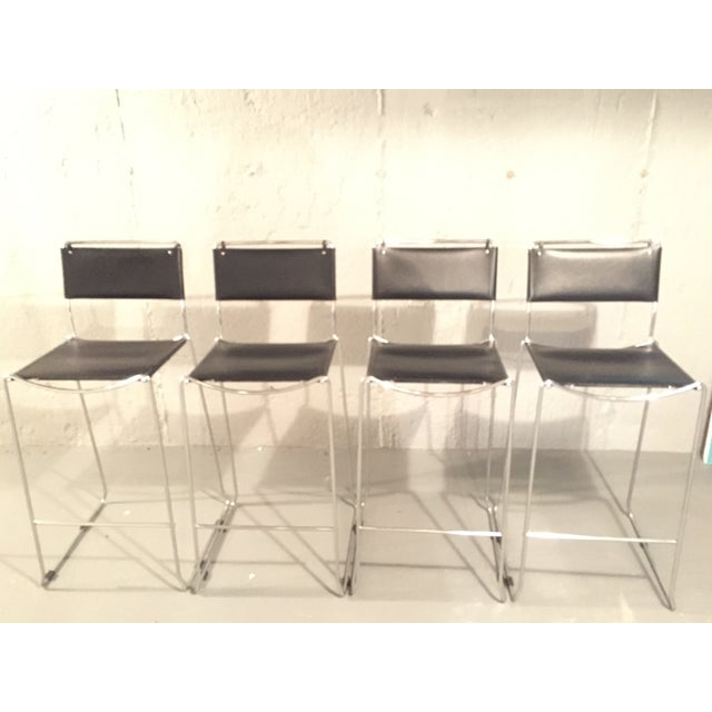 Design Within Reach Italian Leather Chrome Bar Stools - Set of 4 - Image 2 of 4