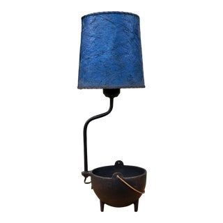 Vintage Mid-Century Industrial Cast Iron Table Lamp With Blue Fiberglass Shade
