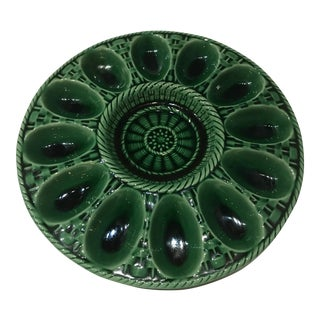 1980s Traditional Secla Green Ceramic Deviled Egg Plate For Sale