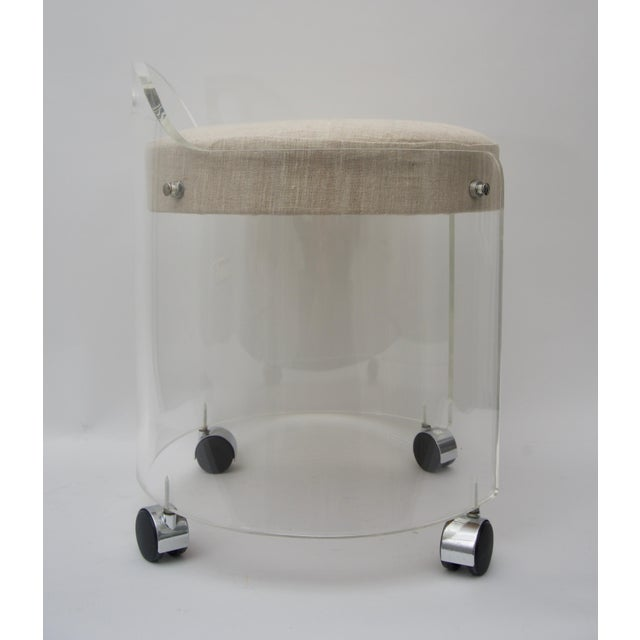 Mid-Century Modern Round Lucite Vanity Chair by Charles Hollis Jones 1970s For Sale - Image 3 of 9