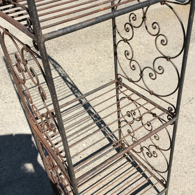 Shabby Chic Scrolling Iron Etagere For Sale - Image 3 of 11
