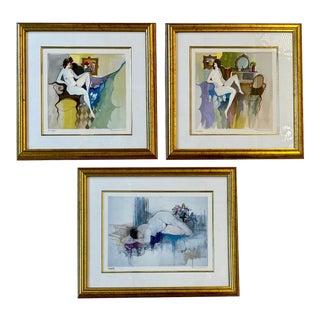 Set of Three Itzchak Tarkay Serigraphs of Nudes For Sale