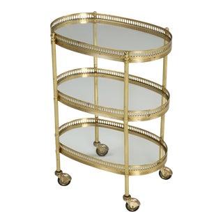 Vintage French Très Petite Tea or Bar Cart For Sale