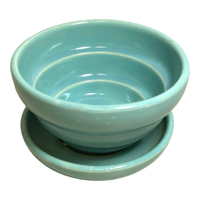 """McCoy Pottery 1940s - 1960s Small """"Teal Blue"""" Mid-Century Flowerpot and Saucer For Sale"""