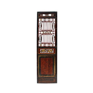 Chinese Gold Red Brown Graphic Carving Wood Decor Panel For Sale
