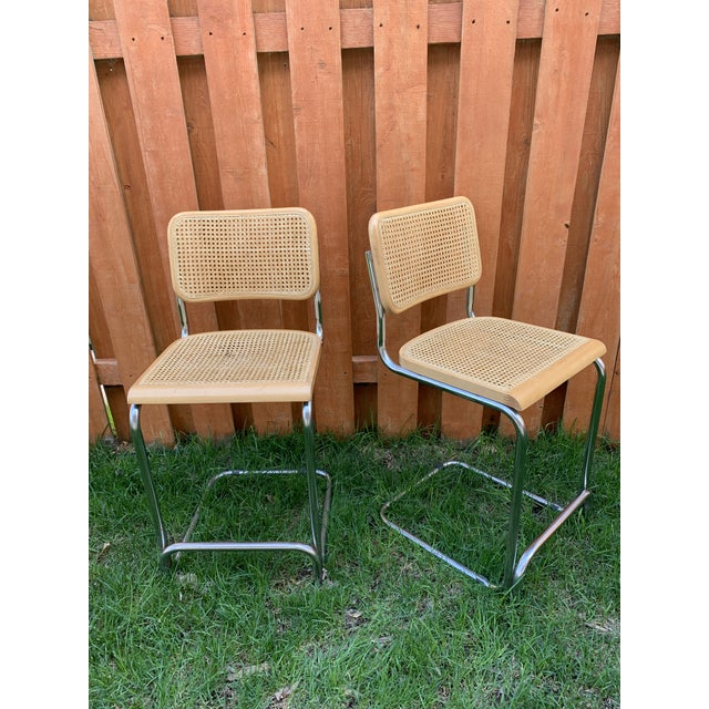 Cesca Breuer Style Cantilevered Cane Counter Stools - a Pair For Sale - Image 10 of 10