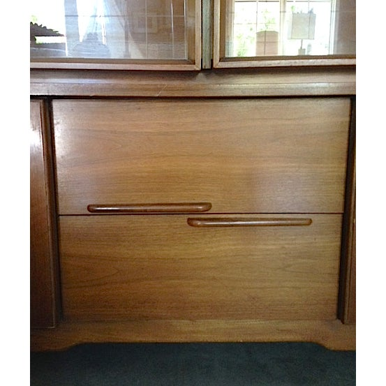 Mid-Century Etched Doors Teak Hutch Cabinet - Image 3 of 10