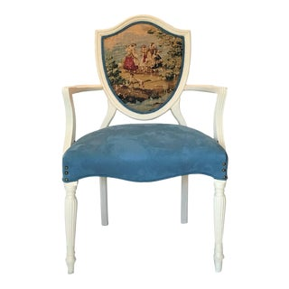 1940s Vintage Louis XVI Shield Back Velvet & Toile Fauteuil For Sale