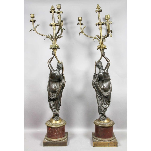 Pair of Louis XVI Bronze and Ormolu Candelabra For Sale - Image 9 of 10