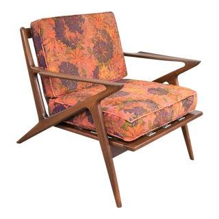 Scandinavian Modern Selig Z Lounge Chair by Poul Jensen in Walnut W/Original Fabric For Sale