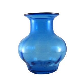 1990 Richard Blenko Hand Blown Turquoise Glass Vase For Sale