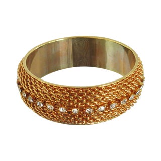 Vintage Gold Tone Chain Bangle With Clear Stone Accents For Sale