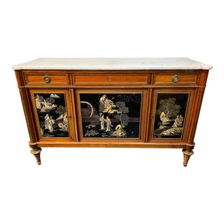 French Directoire Style Mahogany and Chinoiserie Side Cabinet For Sale