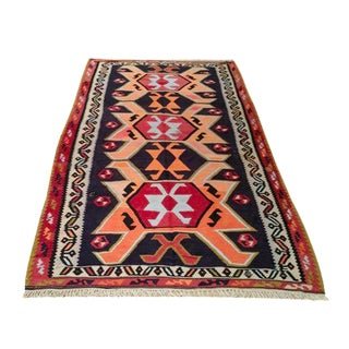 Vintage Turkish Kilim Hand Made Rug - 5'x9' - Size Cat. 5x8 6x9 For Sale