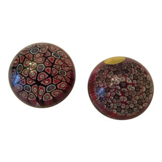 Vintage Millefiori Red Murano Blown Glass Paperweights - a Pair For Sale