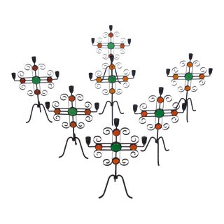 Seven Enameled Steel and Glass Candelabra