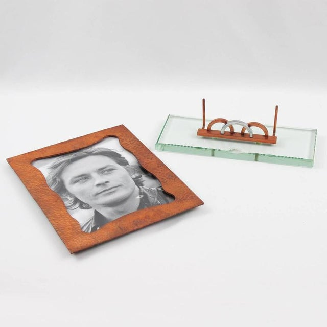 French 1940s Copper and Glass Slab Geometric Picture Photo Frame - Image 4 of 7