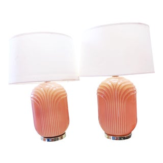 Pink Glass Ceramic Vintage Art Deco Revival Lamps - A Pair For Sale