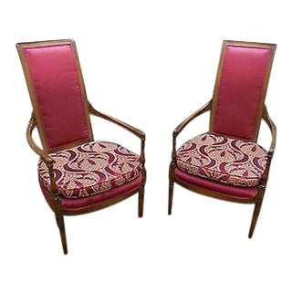 Pair of French Louis XVI Directoire Style High Back Host Open Arm Chairs (B) For Sale