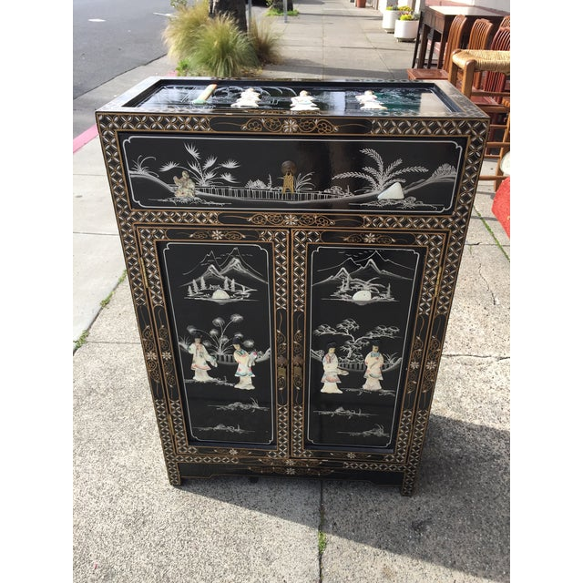 Vintage Asian Black Lacquer Cabinet With Mother Of Pearl For Sale - Image 10 of 10