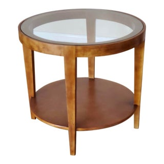 Danish Modern Maple Round Glass Side Table For Sale