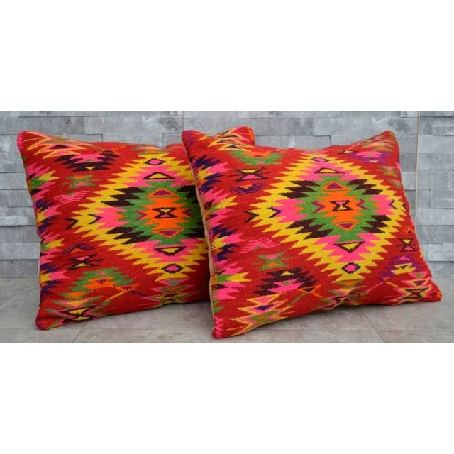 Vintage Turkish Kilim Rug Pillow Covers - A Pair - Image 2 of 5
