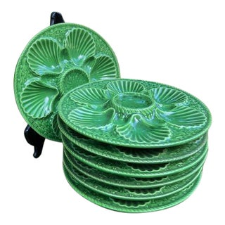 Vintage Longchamp Green Majolica Oyster Plates - Set of 7 For Sale