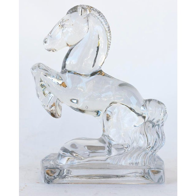 L.E. Smith Rearing Horse Glass Bookends - a Pair - Image 4 of 5